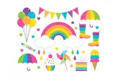 Rainbowclipart set comes with rainbow with cloud, rainbow bunting banners, rainbow umbrellas, rainbow boots, rainbow balloons, rainbow pinwheel, rainbow ice cream, rainbow cake, rainbow sweet, rainbow cupcake, colorful stars, colorful love, and colorful rain drops.