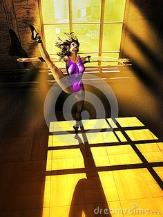 High angle view of young woman, modern dancer listening to music with earphones connected to an mp3 device, training in a room behind the window of an edifice of a big city, as dust is flying around her.