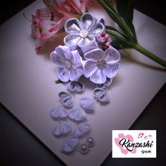 Kanzashi - White & White Hairpin, White White, Brooch, Nice, Instagram Posts, Jewelry, Hair Barrettes, Hip Bones, Brooch Pin