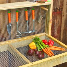 Walmart now has Hardware Cloth and we used it to make this DIY Veggie Washing table. Get to work - Spring is here! Farm Gardens, Outdoor Gardens, Veggie Gardens, Vegetable Gardening, Organic Gardening, Garden Steps, Easy Garden, Herb Garden, Garden Stepping Stones