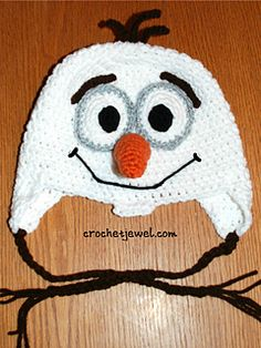 Olaf Inspired hat pattern, (All sizes available) http://crochetjewel.com/?p=13079