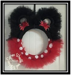 Mickey or Minnie Mouse Red and Black Tulle Wreath – Cypress . Mickey Mouse Wreath, Mickey Mouse Christmas, Christmas Crafts, Christmas Decorations, Christmas Booth, Ribbon Decorations, Peanuts Christmas, Disney Christmas, Holiday Decorating