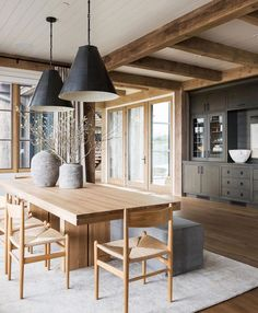 This dining area is probably Japanese country-house inspired. Style At Home, Home Interior Design, Interior Decorating, Interior Photo, Style Deco, Dining Room Inspiration, Dining Room Design, Dining Area, Wood Dinning Room Table