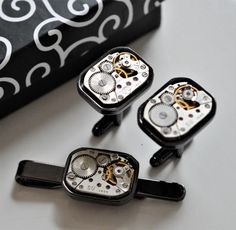 Cuff Links and tie bar clip for man movement watches