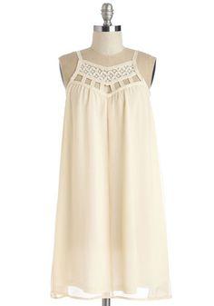 Treat Froyo Self Dress - Solid, Cutout, Lace, Casual, Sundress, Boho, Festival, Shift, Tent / Trapeze, Spaghetti Straps, Spring, Woven, Mid-length, Cream