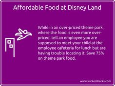 Eat for cheap at theme parks.