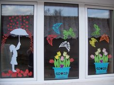 Classroom Window Decorations, School Decorations, Xmas Crafts, Cute Crafts, Diy And Crafts, Mothers Day Crafts For Kids, Spring Crafts For Kids, Kids Window Treatments, Art Activities For Toddlers