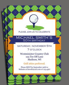 Golf Invitation Printable Or Printed With FREE SHIPPING