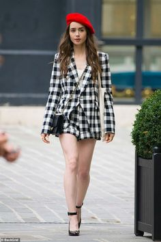 Lily Collins gets up close and personal with male co-star - - The actress, who is the daughter of Phil Collins and Jill Tavelman, looked sensational in a strapless evening gown as she threw herself into filming. Paris Outfits, Neue Outfits, Look Fashion, Autumn Fashion, Fashion Outfits, Paris Fashion Style, Parisian Chic Fashion, Paris Chic, Fashion Boots