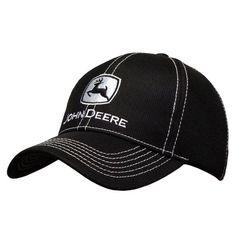973fbebdbb51d John Deere Diamond Mesh Contrast Stitch Black Hat