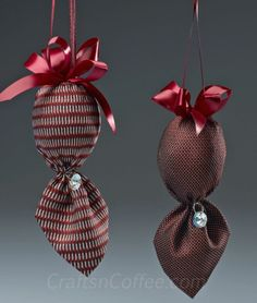 how to repurpose silk ties to make Christmas ornaments