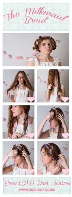 How to Wear a Head Scarf in 4 Ways | Milk Maid Braids | How To Milkmaid Braid/Heidi Hair Tutorial | by Beauxoxo #beauxoxo #hairaccessory #hairaccessories #headscarf #milkmaidbraid #heidibriads #braids #hairscarf