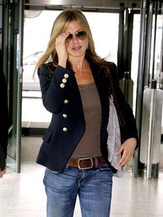 Navy and deep tan with jeans -Jennifer Aniston