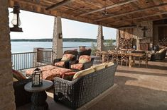 Outdoor living in this amazing patio space at a Texas lakehouse