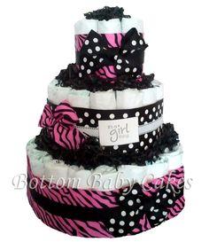 Zebra Diaper Cake Shower Centerpiece Shower Deocration Pink and Black Zebra Baby Diaper Cake. $55.95, via Etsy.