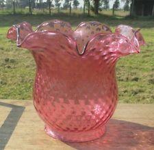 Rare Antique Cranberry Tulip Flower Shape Shade Oil Lamp Hobnail Glass Art Deco