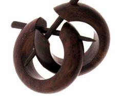 Wood Earrings - Small Brown Hoops - Post Earrings