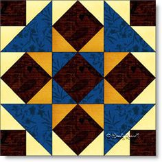 Gettysburg quilt block pattern - a nine patch block featuring half square triangles and square in a square patches