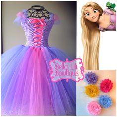 Tangled Rapunzel Inspired Tutu Dress 6mo-4t, Birthday Dress, Halloween Costume, Toddler costume
