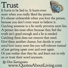 Trust, dealing with it. Trust is the most important aspect in a relationship.