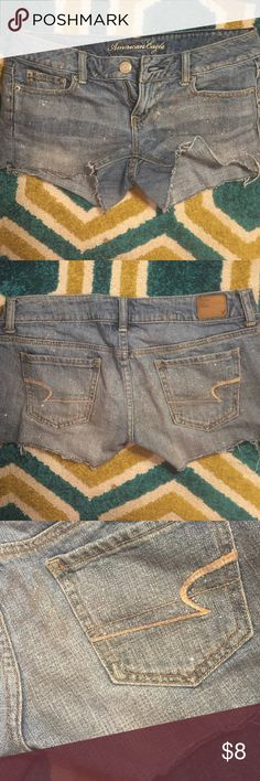American eagle Sparkle/glitter denim shorts Well loved. So bummed I gained weight! No holes, button attached. Hem is sewn, gray is deliberate and won't unravel American Eagle Outfitters Shorts Jean Shorts