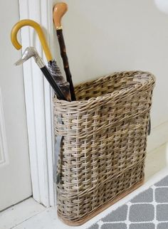 Buy Rattan Umbrella Stand — The Worm that Turned - revitalising your outdoor space - Rattan umbrella basket Small Entrance Halls, Entrance Hall Decor, Entrance Ideas, Porch Storage, Hallway Storage, Hall Storage Ideas, Storage Solutions, Small Entryways, Small Hallways