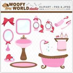 Pink Bathroom Boutique and Spa Clipart - INSTANT DOWNLOAD - Digital Clip Art - WA340C4a via Etsy
