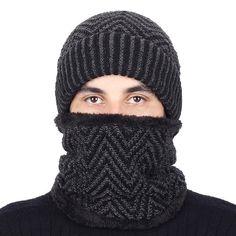 27dcf06cdc0 2 Pieces Stripes Knit Beanie Hat Scarf Set Winter Men Velvet Thick Cap Hood   mensfashion  menswear  winterfashion