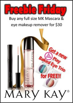 Freebie Friday!  Purchase any full size Mary Kay Mascara and eye makeup remover for $30 and get an eye trio for free!! www.marykay.com/kaseyedwards