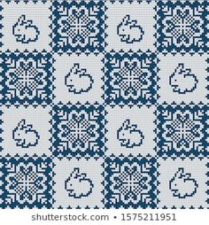 Knitted Christmas New Year Vector Seamless Stok Vektör (Telifsiz) 1575211951 New Year Vector, Knitting Charts, Potholders, Christmas Knitting, Christmas And New Year, Knits, Embroidery, Pillows, Vectors