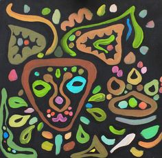African Cat painting acrylic on cardboard by LilyMokus on Etsy
