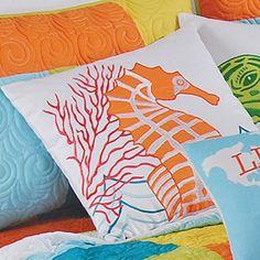 C & F Tropic Escape Square Pillow - Seahorse