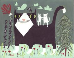 Whimsical Giant Tuxedo Cat Art Artwork Print  Funny by 3crows ETSY Sara Pulver