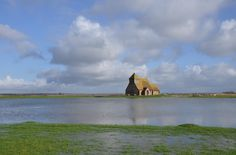 Fairfield Church surrounded by water.