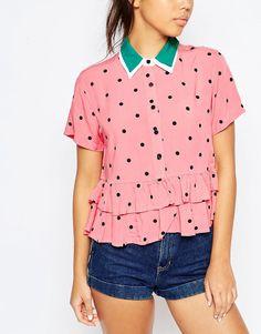 Image 3 - Lazy Oaf - Chemise manches courtes à imprimé pastèque avec ourlet volanté