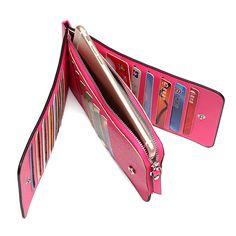 Hot-sale Women Men 26 Multi-slots Card Holder Ultrathin PU Leather Zipper Business Card Case 5.5'' Phone Bags - NewChic Mobile.