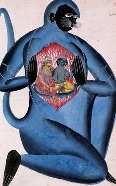 Kalighat painting of Hanuman the Monkey God teasing open his chest to reveal Rama & Sita enshrined within it, Indian (Calcutta), about 1865-70.