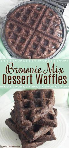 Brownie Mix Waffles, Brownie Mix Desserts, Chocolate Waffles, Brownie Recipes, Waffle Desserts, Cake Waffles, Brownie Mix Cookies, Mini Waffle Recipe, Waffle Maker Recipes