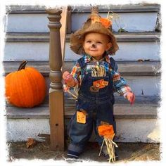 Halloween Scarecrow Costume-Includes Overalls Shirt and Hat sizes Baby Scarecrow Costume, Toddler Boy Halloween Costumes, Unique Halloween Costumes, Halloween Scarecrow, Toddler Humor, Toddler Boys, Funny Toddler, Easy Diy Costumes, Baby Boy