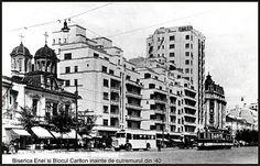 Front B-dul I.C. Bratianu (acum cunoscut ca Magheru) cu Biserica Enei(actualmente demolata) si Blocul Carlton(s-a prabusit la cutremurul din 1940 ). Bucharest Romania, Places To Visit, Street View, Memories, Buildings, Film, Bucharest, Cousins, Cards