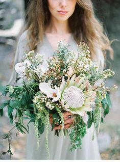 Montenegro Wedding Inspiration via Magnolia Rouge Protea Wedding, Floral Wedding, Bouquet Wedding, Wedding Dresses, Wax Flowers, Bridal Flowers, Bride Bouquets, Floral Bouquets, Bluebell Bridal