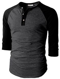 Men's Clothing - H2H Mens Casual Slim Fit Raglan Baseball ThreeQuarter Sleeve Henley TShirts *** You can get more details by clicking on the image. (This is an Amazon affiliate link)