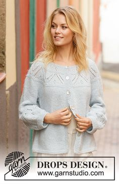 Knitted jacket with round yoke in DROPS Air. Piece is knitted top down with lace pattern and balloon sleeves. Size: S - XXXL Drops Design, Knit Jacket, Knit Cardigan, Knitting Patterns Free, Free Knitting, Handmade Cards For Friends, Raglan, Pullover, Crochet Diagram