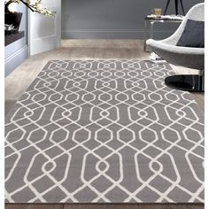 Shop for Modern Trellis Pattern Grey Area Rug (5'x7'). Get free shipping at…