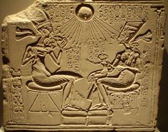 Ancient Egyptian house altar relief sculpture of Akhenaten, Nefrertiti and their three daughters. Neues Museum Berlin AM Ancient Egyptian Art, Ancient Aliens, Ancient History, History Class, Art History, Giant Skeletons Found, Ancient Discoveries, Ancient Mysteries, Ap Art