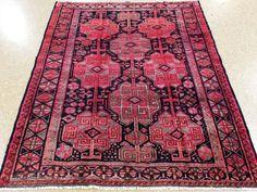 "5'3"" x 6'5"" PERSIAN KURDISH Tribal Hand Knotted Wool REDS BLUES Oriental Rug #PersianKurdishTribalNomadicGeometric"
