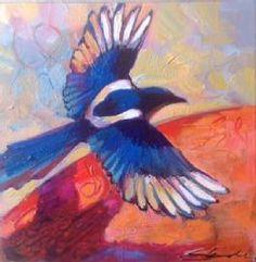 Charlotte S. Decker Charlotte S. Decker $250   Magpie in Flight Oil 13.5 x 13.5 Framed