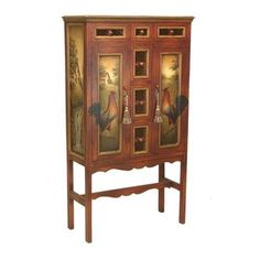Lovely French Red Armoire W_Hand-painted Rustic Scene. h1Lovely French Red Armoire W_Hand-painted Rustic Scene_h1A very appealing armoire with French red finish, this beauty has hand-painted rural scenes, keys with tassels for the doors, and chicken wire fronts on the drawers.. . See More Armoires at http://www.ourgreatshop.com/Armoires-C1067.aspx