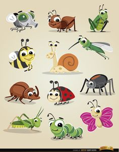 Cartoon bugs icon set
