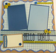 HELLO WORLD 12 x 12 premade scrapbook page by cottoncandicreations, $9.00